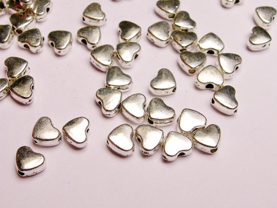 Silver color  beads hypoallergenic- 100 pcs -  silver small heart beads - ZAS 16