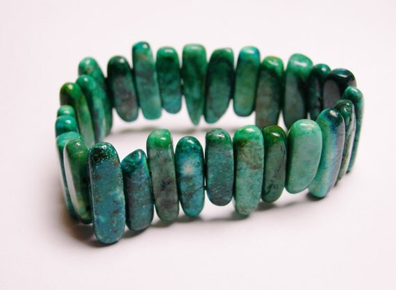 Chrysocolla -- double holed beads---27 pcs-beads