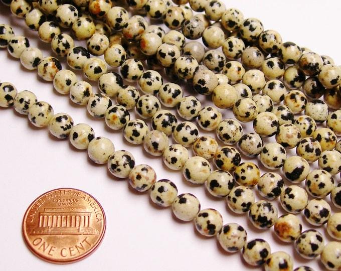 Dalamtian jasper - 6 mm - 66 beads - full strand - A quality - RFG1016