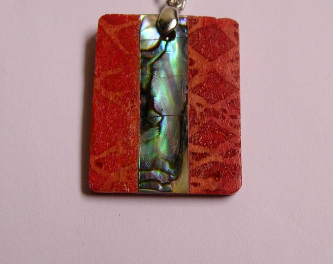 Coral abalone pendant focal piece bail included 1 pcs natural, SP-17