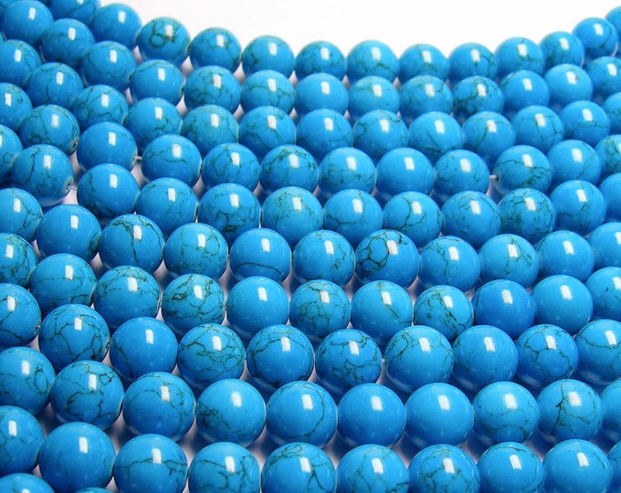 Howlite turquoise - 12mm round beads -1 full strand - 34 beads - quality  AA
