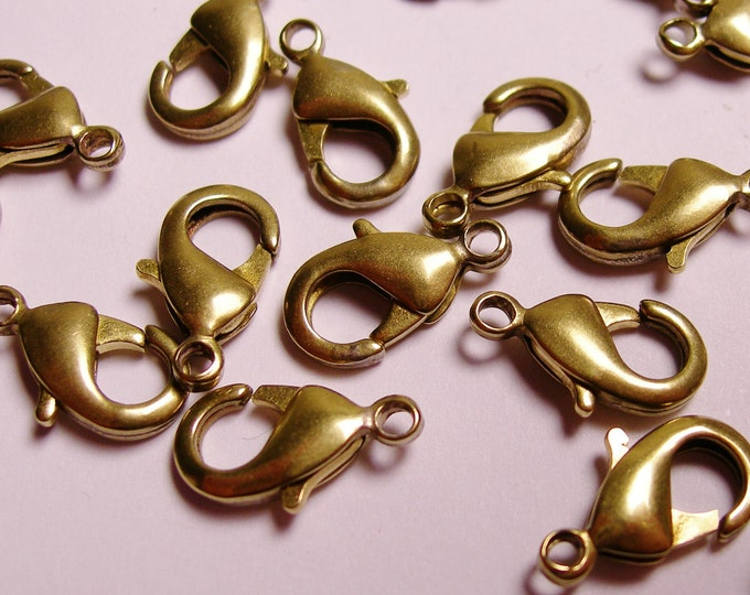60 pcs - Brass -Lobster Clasps 15 mm hypoallergenic - nickel free- lead free - cadmium free