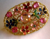 Reserved for Otterwins... Multi-Color Flower Brooch... Czech Art Deco