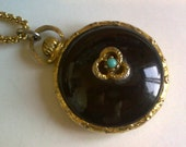 Black and Turquoise 'Pocket Watch' Necklace