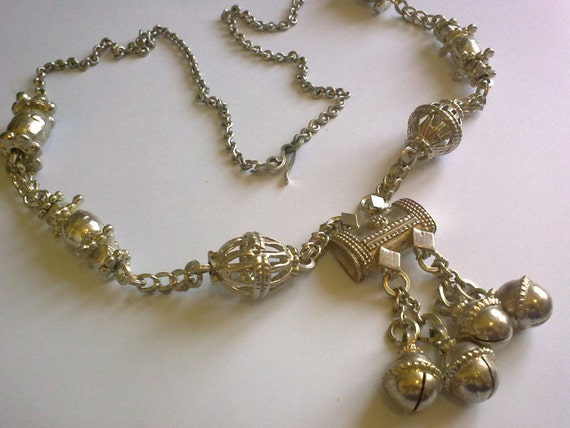 Ethnic Silver Bell Necklace