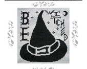 PDF E pattern emailed Primitive Halloween Witch Cross Stitch Pattern Sampler 104