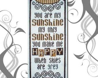 PDF emailed E Pattern Primitive You are my Sunshine Cross Stitch Pattern 32