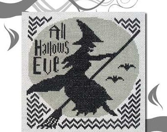 PDF E pattern emailed Halloween Witch Cross Stitch Pattern Design 100