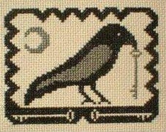 PDF E pattern emailed Primitive Halloween Crow Cross Stitch Pattern Sampler 48