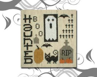 PDF E pattern emailed Primitive Halloween Ghost Cross Stitch Pattern Sampler 77