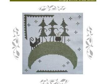 PDF E pattern emailed Primitive Halloween Witch Wicca Cross Stitch Pattern Sampler 105