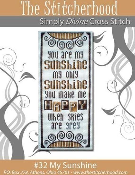 Primitive You are my Sunshine Cross Stitch Pattern  32