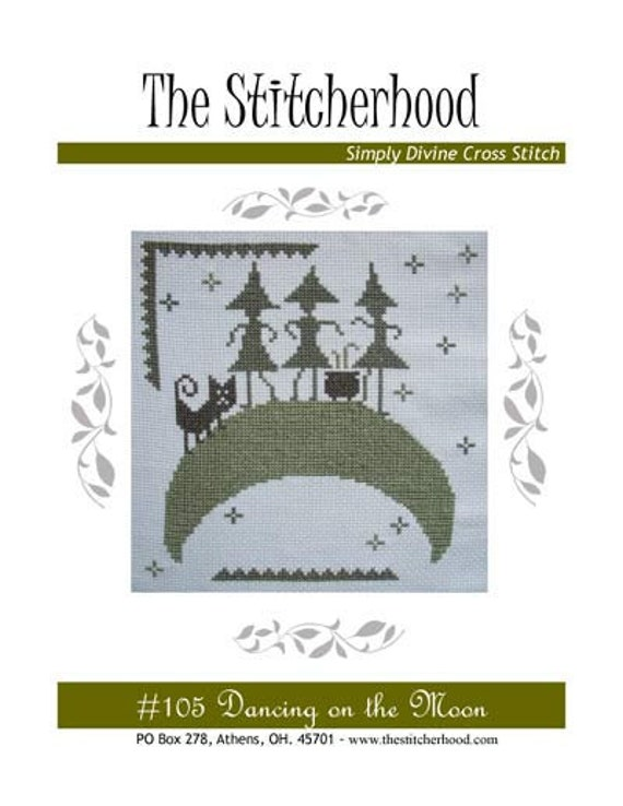 PDF E pattern emailed Primitive Halloween Witch Wicca Cross Stitch Pattern Sampler 105