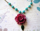 Wine Red Rose with Czech Turquoise Beads Necklace