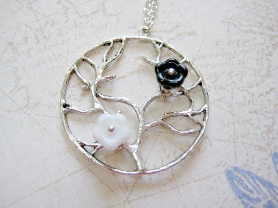 Tree Necklace - Tree with black and white flower