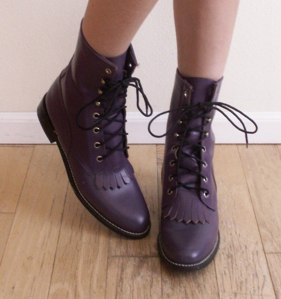 Vintage JUSTIN Lace-Up Fringe Boots Cute Rich Plum Ropers