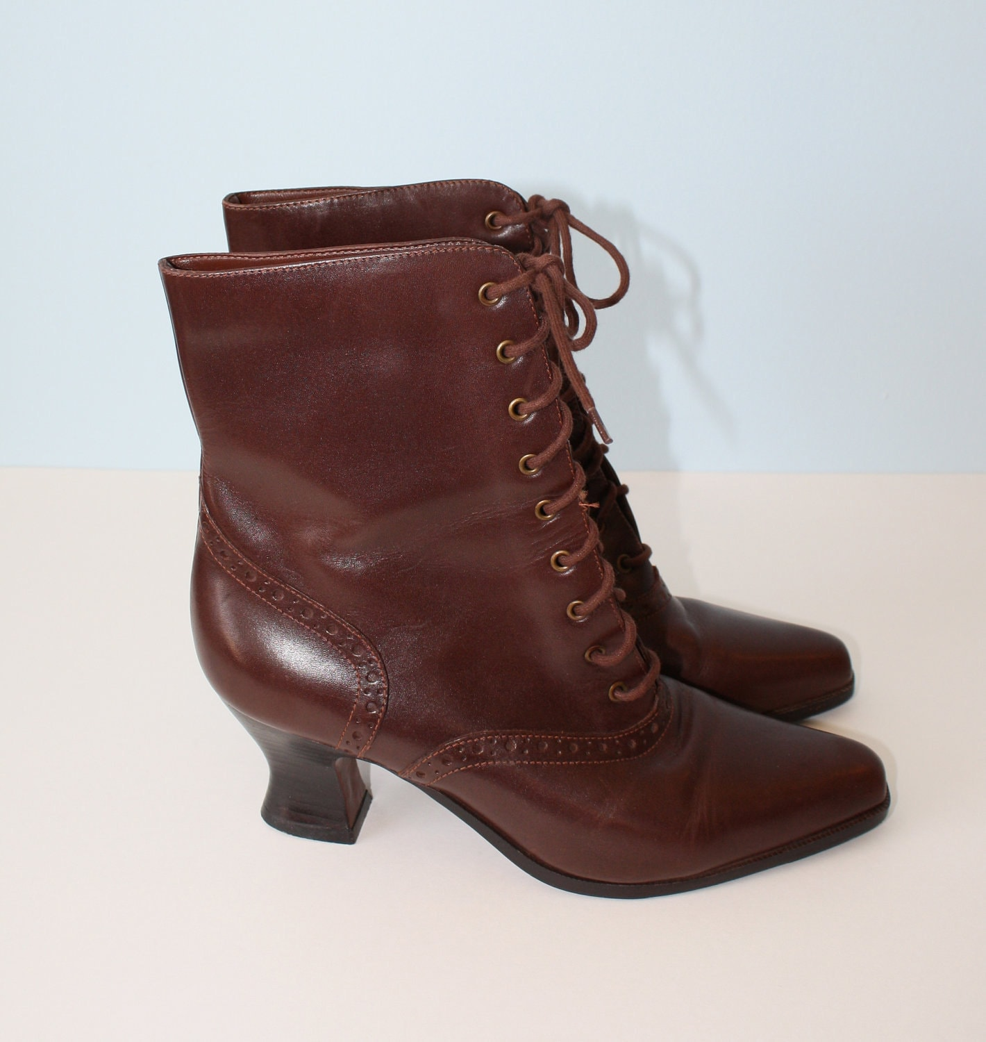 Victorian Lace Up Boots Vintage Brown Leather Granny Boots