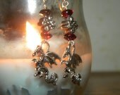 Celtic Dragon Earrings - pewter, gemstones and sterling silver