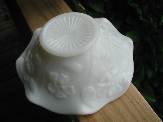 Milk Glass Vintage Candy Bon Bon Dish Opalescent White Pansy Flower