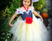 DISNEY Princess SNOW WHITE Inspired TuTu Ball Gown Dress- Glitz and Glitter Style with matching hair piece Made to Order