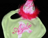 Garden Fairy Pink and Green Feather Custom Girls Birthday Hat and Bib with Applique Made in Any Style or Theme
