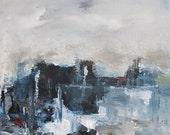 Abstract Cityscape Painting Orignal Art - Night City 11 x 14