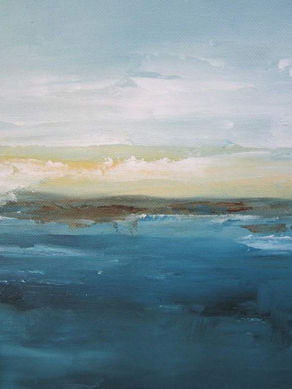 Original Abstract Seascape Painting -Blue Sea 12 x 24