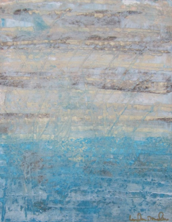 Original Abstract Painting on Paper in Mat- Dreaming 8  x 10