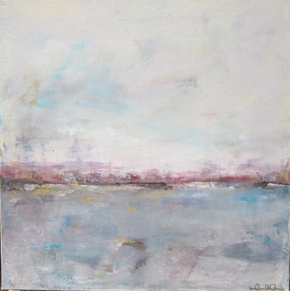 Abstract Seascape Original Painting on Canvas-In the Distance 20 x 20