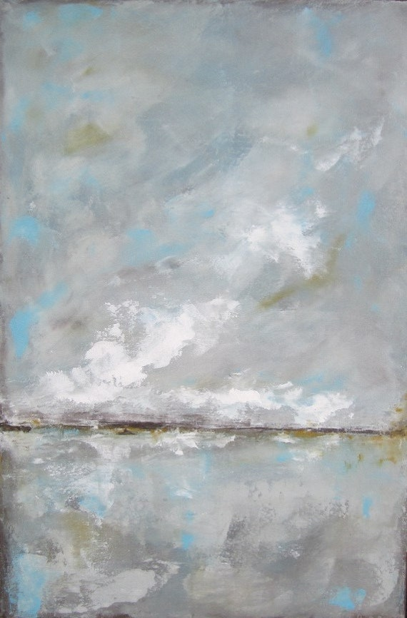 Original Abstract Landscape Painting -Blue Skies 24 x 36