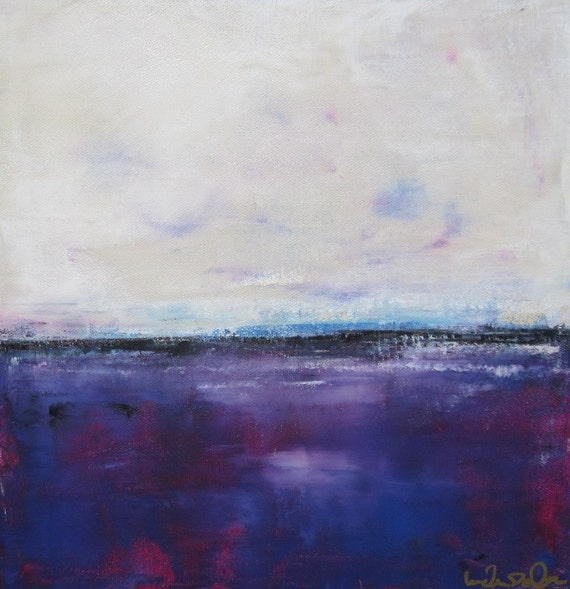 Seascape Original Painting on Canvas- Purple Ocean 12 x 12