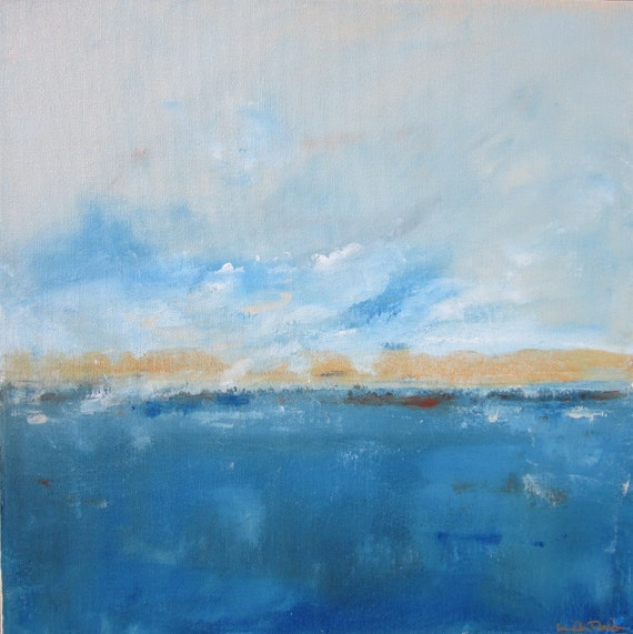 Abstract Seascape Original Art-  Lakeside with Gold 18 x 18