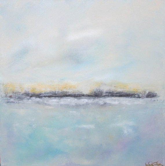 Abstract Landscape Original Art-  Seaside with Grey 20 x 20