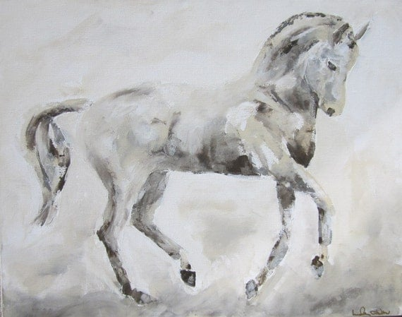 Dressage Horse Painting -Flying Changes 28 x 22