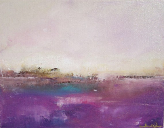Seascape Original Painting on Canvas- Aqua Purple Sea 14 x 11