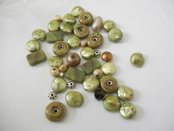 FREE HOLIDAY SHIPPING,destash, coin pearls, czech, squares, green, olive, gold, spacers, 40 plus miscellaneous beads