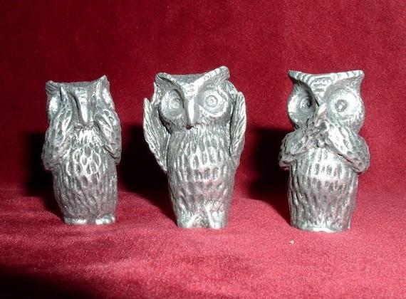 Owl Figurines See Hear Speak No Evil Set Of 3