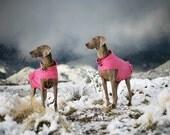 Foxy Fleece BUTT RUFFLE dog coat: medium, large, XL