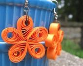 Orange Flower Paper Earrings
