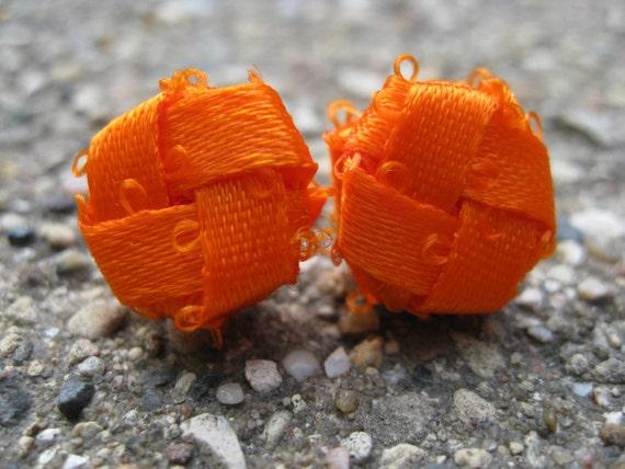 RESERVED: Orange Circular Woven Ribbon Earrings