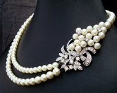 Pearl Necklace,Bridal Pearl Necklace,Ivory Pearls,Rhinestone Brooch Necklace,Bridal Neckalce,Statement Bridal Necklace,Pearl,HEATHER