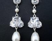 Pearl Bridal Earrings,Bridal Rhinestone Earrings,Ivory or White Swarovski Pearl,Statement Bridal Earrings,Pearl Rhinestone Earrings,ALEX