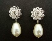 Bridal  Earrings,Pearl Bridal Wedding Earrings, Ivory or White Swarovski Pearls,Bridal Rhinestone Earrings,Stud Bridal Earrings,Stud,JENNA