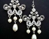 Chandelier Bridal Rhinestone Earrings,Bridal Pearl Earrings,Bridal Rhinestone Earrings,Ivory Pearls,Bridal Statement Earrings,Pearl,FANNIE