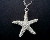 Wedding Necklace,Star Fish Necklace,Bridal Necklace,Star Fish Rhinestone Necklace,Sterling Silver Chain Necklace,Destination Wedding,ARIEL