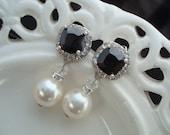 Bridal Earrings, White Swarovski Pearls, Black Rhinestone, Stud Earrings, NORMA