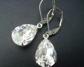 Bridal Earrings,Bridal Rhinestone Earrings,Dangle Earrings,Swarovski Crystal,Statement Bridal Earrings, Silver,Wedding Crystal Earrings,ARIA