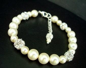 Pearl Bridal Bracelet Ivory swarovski Pearls Bridal Rhinestone Bracelet Bridal Pearl Bracelet Rhinestone Bracelet wedding  bracelet CLAIRE