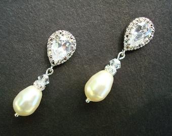 bridal Pearl rhinestone Earrings, Bridal stud Earrings, swarovski pearl earrings, Wedding Pearl Earrings, cubic zirconia earrings,  AUDREY