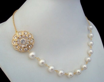 Bridal Pearl Necklace, White Swarovski Pearls, Bridal Rhinestone Necklace, Statement Bridal Necklace, Bridal Rhinestone Necklace, STEPHANIE
